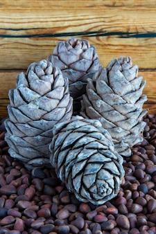 Pignons de pin. pignons et cônes de pin sur une table en bois. graines de pin de sibérie dans la coquille. nutrition adéquat