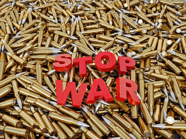 Pile de balles d'armes à feu rendu 3d