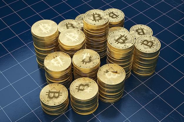 Pile de bitcoins dorés