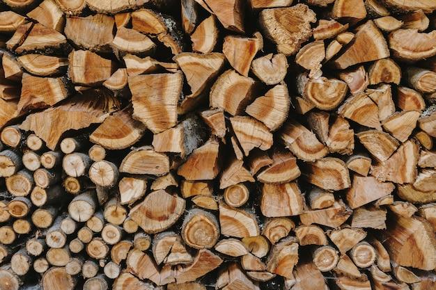 Pile de bois de chauffage fond texturé