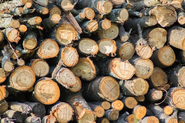 Pile de bois de chauffage se bouchent