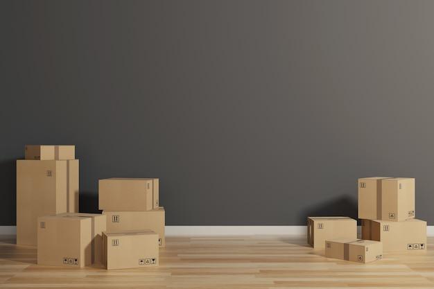 Pile de boîtes en carton fermées enveloppées d'adhésif sur le sol. concept de déménagement et d'expédition