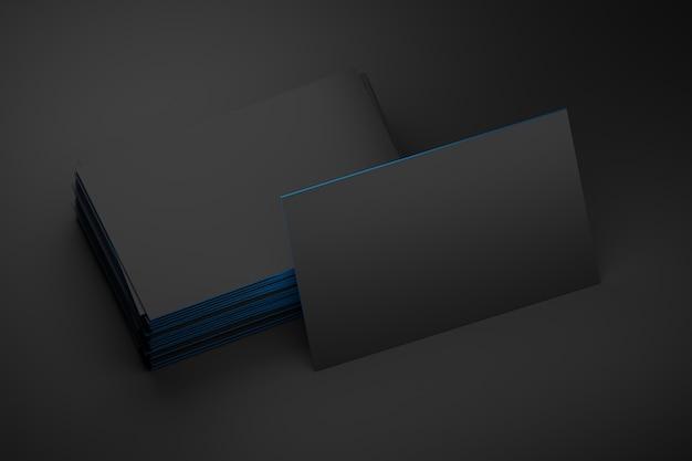 Pile de carte de visite noire vierge avec espace de copie vierge