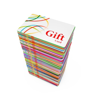 Pile de cartes-cadeaux en plastique multicolores sur fond blanc. rendu 3d