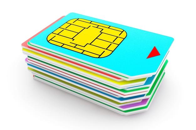 Pile de cartes sim multicolores sur fond blanc