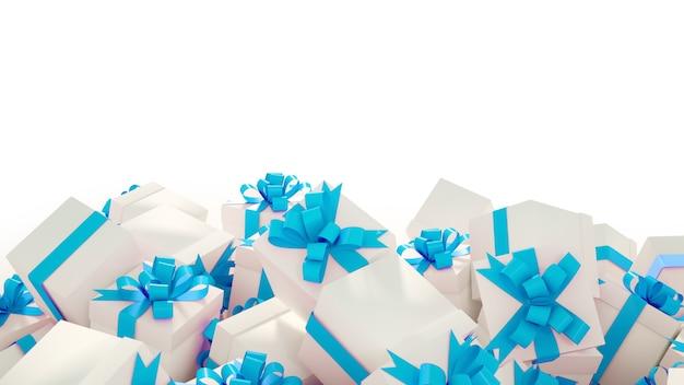 Pile de coffrets cadeaux blancs avec des rubans bleus sur fond blanc, copiez l'espace pour le texte