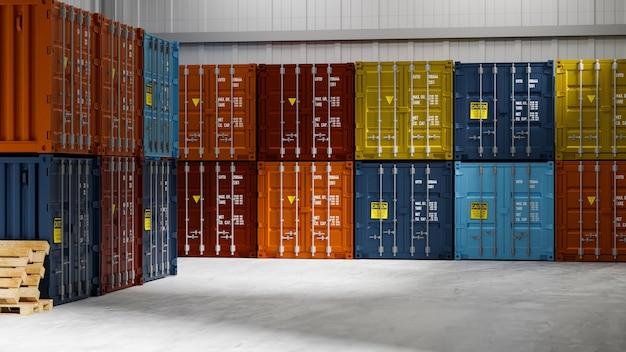 Pile de conteneurs colorés dans un entrepôt de stockage, rendu 3d, illustration 3d