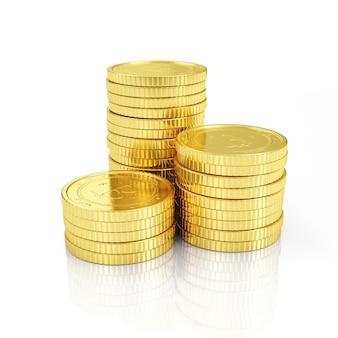Pile de crypto-monnaie bitcoins d'or sur blanc