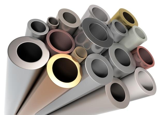 Pile de cylindre en métal. isolé sur blanc. rendu 3d