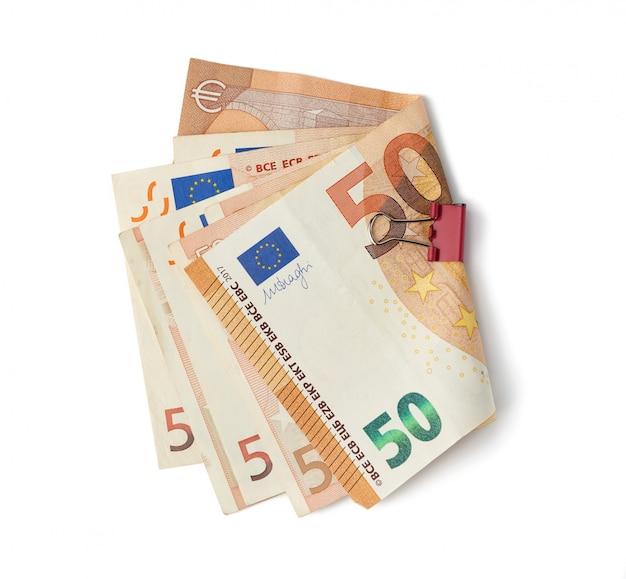 Pile empilée de notes papier de l'union européenne, valeur faciale 5