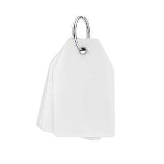 Pile d'étiquettes vierges blanches avec espace libre pour votre conception sur un porte-clés sur fond blanc. rendu 3d