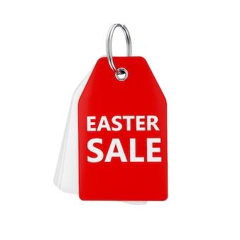 Pile d'étiquettes vierges blanches avec un signe de vente rouge et de pâques sur un porte-clés sur un fond blanc. rendu 3d