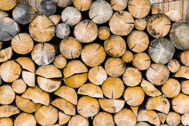Pile de fond de bois de chauffage