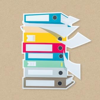 Pile d'icône de dossiers de documents isolée