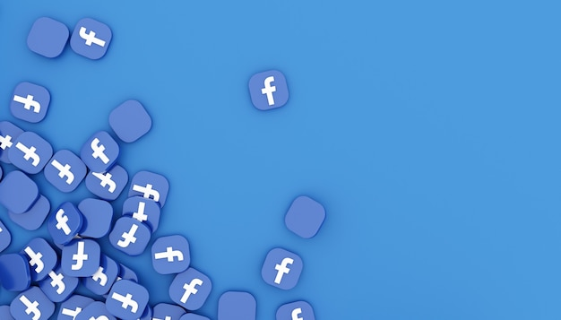 Pile d'icône facebook rendu 3d illustration blanche propre et simple