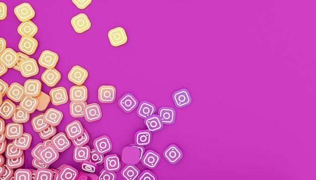 Pile d'icône instagram rendu 3d illustration blanche propre et simple