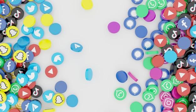Pile d'icône de médias sociaux populaires rendu 3d illustration blanche propre et simple
