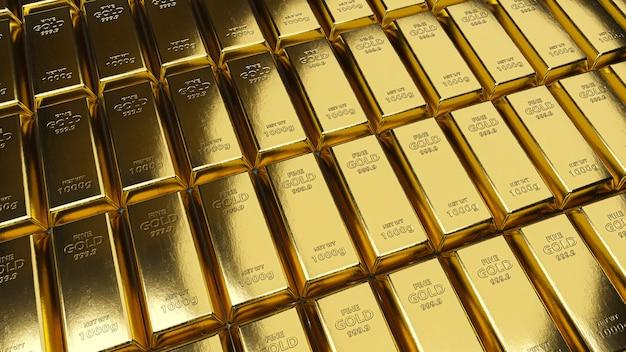 Pile de lingots d'or. concept bancaire ou financier.