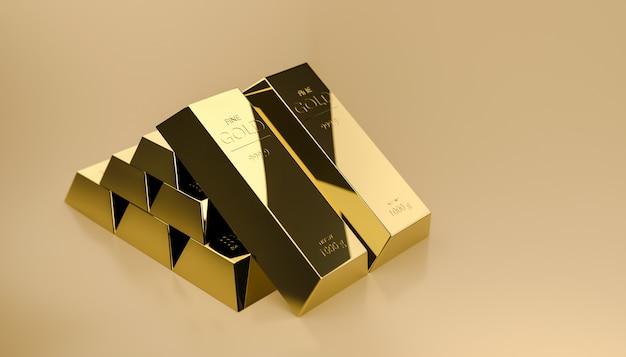 Pile de lingots d'or de la richesse provenant des bénéfices commerciaux des entreprises à croissance rapide.