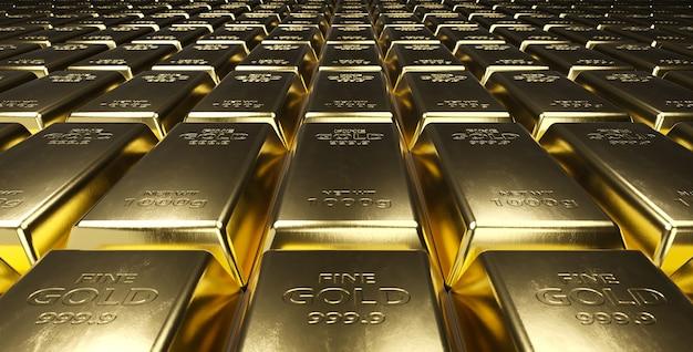 Pile de lingots d'or.