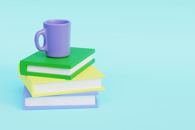 Une pile de livres avec un cercle bleu dessus rendu 3d