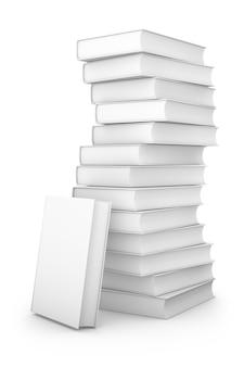 Une pile de livres sur un fond blanc. rendu 3d