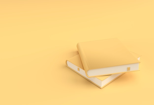 Pile de livres de rendu 3d de couvertures de livre de style de maquette de signet de manuel.