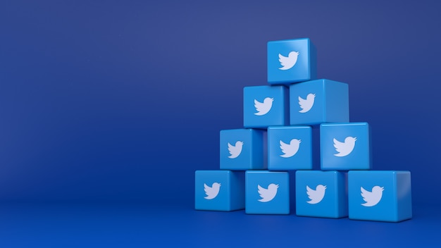 Pile de logos de cube twitter sur fond bleu