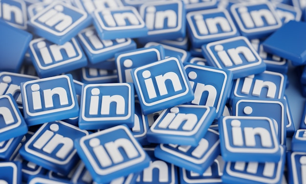 Pile de logos linkedin 3d