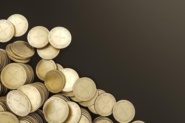 Pile de maquette ripple golden coins pour l'échange de jetons sur le marché de la crypto-monnaie faisant la promotion de la publicité