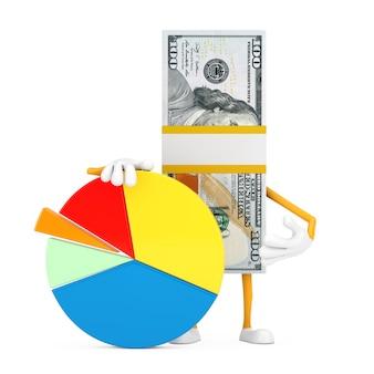 Pile d'une mascotte de personnage de billets de cent dollars avec graphique d'informations sur un fond blanc. rendu 3d