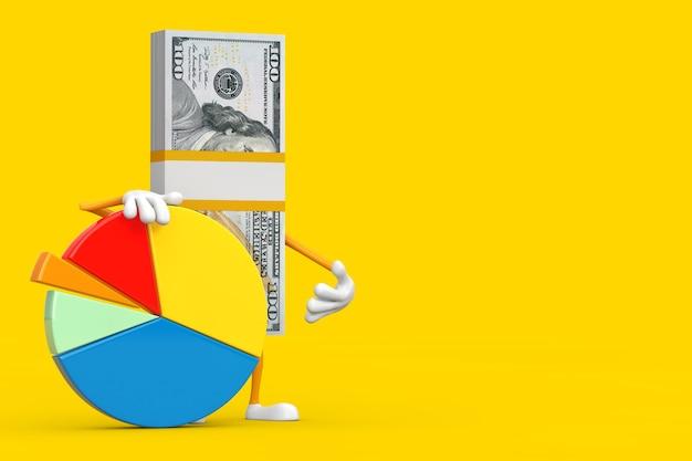Pile de mascotte de personnage de billets de cent dollars avec graphique d'informations sur un fond jaune. rendu 3d