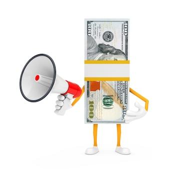 Pile de mascotte de personnage de billets de cent dollars avec mégaphone rétro rouge sur fond blanc. rendu 3d