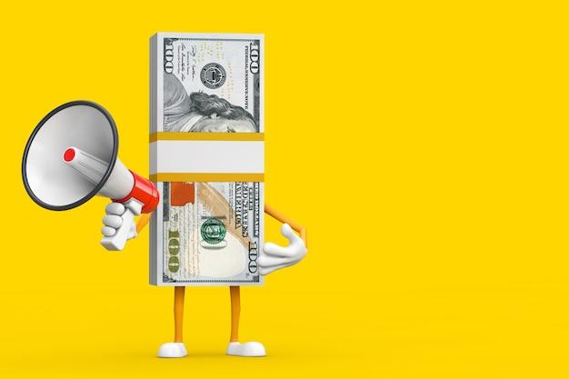 Pile de mascotte de personnage de billets de cent dollars avec mégaphone rétro rouge sur fond jaune. rendu 3d