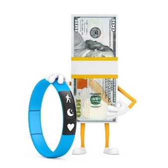 Pile d'une mascotte de personnage de billets de cent dollars avec un tracker de remise en forme bleu sur fond blanc. rendu 3d