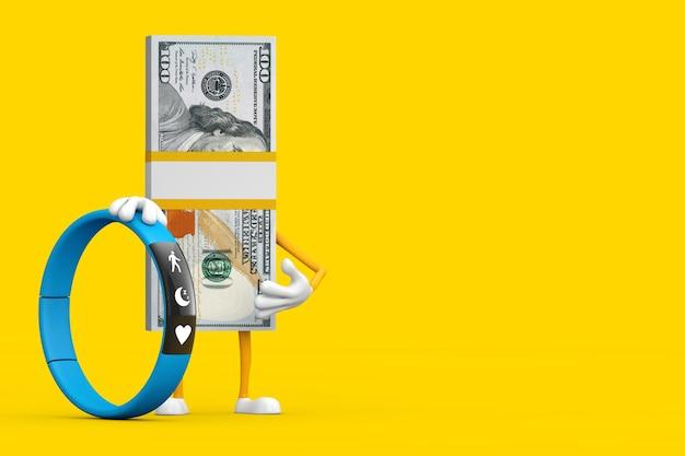 Pile de mascotte de personnage de personne de billets de cent dollars avec un tracker de remise en forme bleu sur fond jaune. rendu 3d