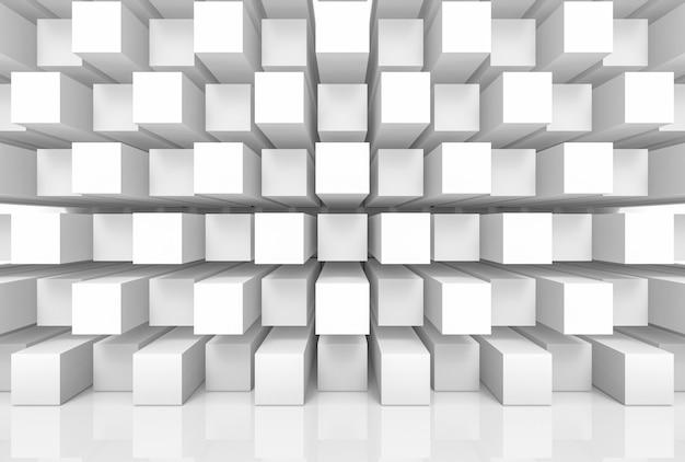 Pile moderne abstraite de mur de luxe aléatoire boîtes de cube blanc