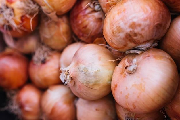 Pile d'oignons biologiques frais