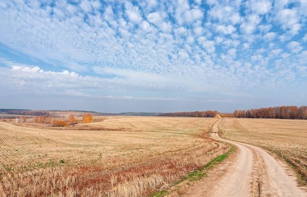 Pile de paille de rouleaux sur un champ en pente sur une journée ensoleillée d'automne, beau paysage rural