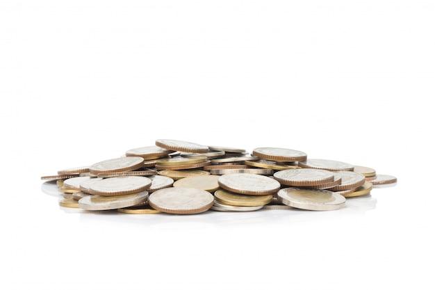 Pile de pièces d'argent et glod.