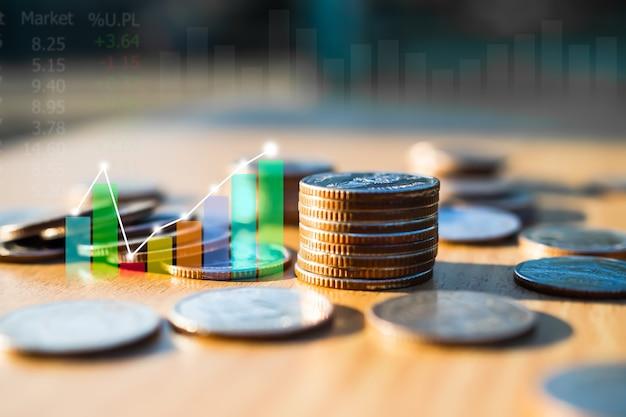 Pile de pièces avec graphique chandelier graphique commerce forex croissance données marché boursier signal numérique tendance ligne indicateur double exposition arrière-plan. plan investissement devise finance entreprise