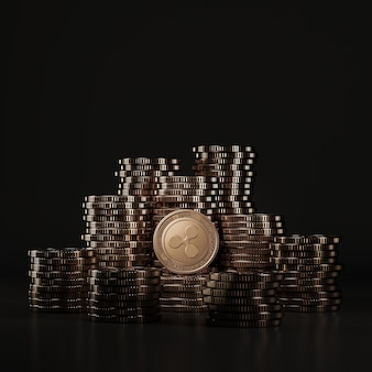 Pile de pièces de monnaie bronze ripple (xrp) dans une scène noire, pièce de monnaie numérique pour la promotion de l'échange financier et de jetons. rendu 3d
