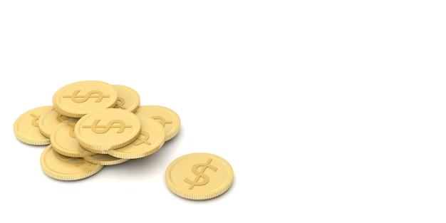 Une pile de pièces d'or et de pièces d'argent représente le profit et la stratégie de l'opération commerciale. rendu 3d