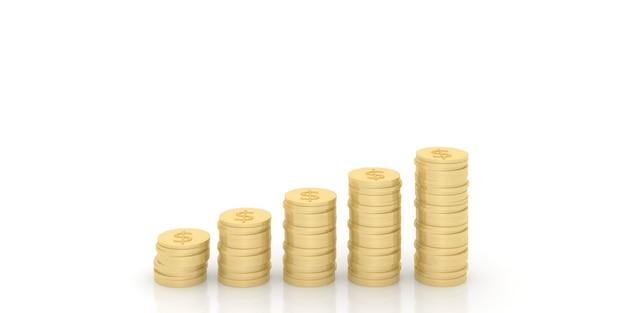 Une pile de pièces d'or représente le profit et la stratégie de l'opération commerciale. rendu 3d