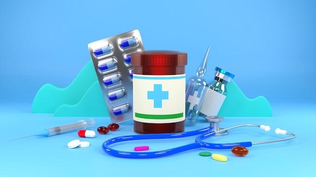 Pile de pilules colorées et de vaccins, concept de jour de pharmacie, rendu 3d