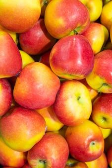 Pile de pomme colorée mûre, couleurs rouge et jaune, brillante. fruit