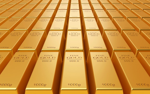 Pile réaliste de lingots d'or