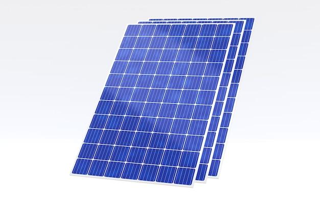 Pile de rendu 3d de panneau solaire isolé sur fond blanc
