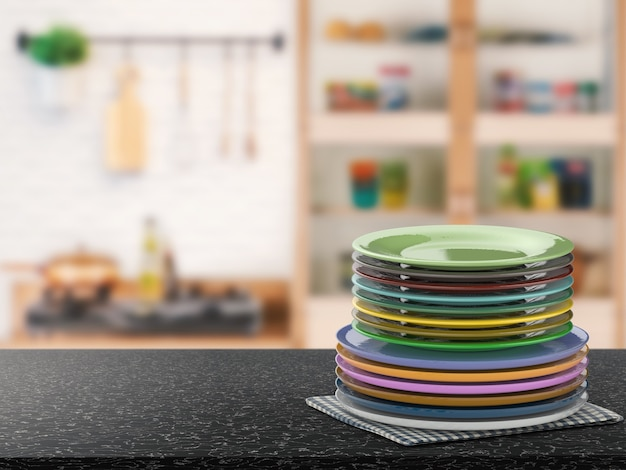 Pile de rendu 3d de plats colorés
