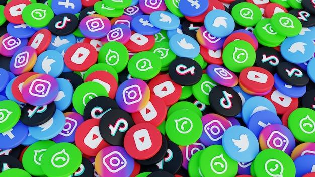 Pile de rendu d'illustration 3d de fond d'icône de médias sociaux